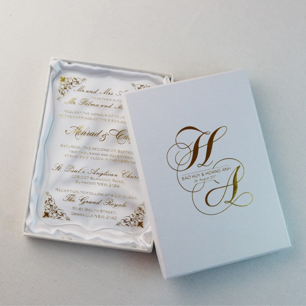30pcs Personalized gold foil Acrylic Wedding Invitation Cards For ...