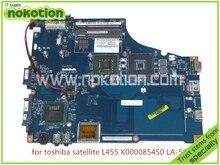 laptop motherboard for toshiba satellite L455 K000085450 LA-5821P Rev 0.1 GL40 DDR2