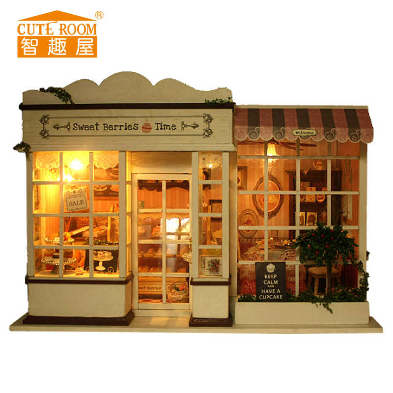 DIY Wooden House Miniaturas with Furniture DIY Miniature House Dollhouse Toys for Children Birthday and Christmas Gift A08