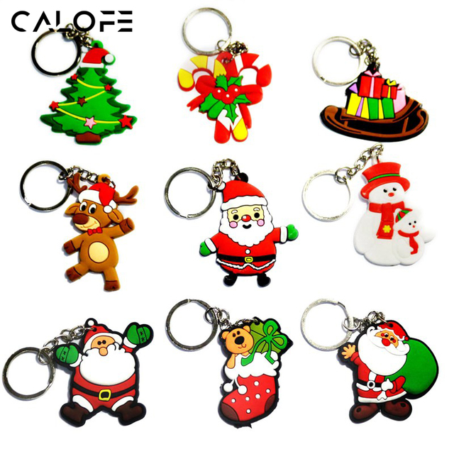 CALOFE 10PC New Year Santa Claus Shaped Key Chain Party Favors Cartoon Christmas Pattern Gift Soft