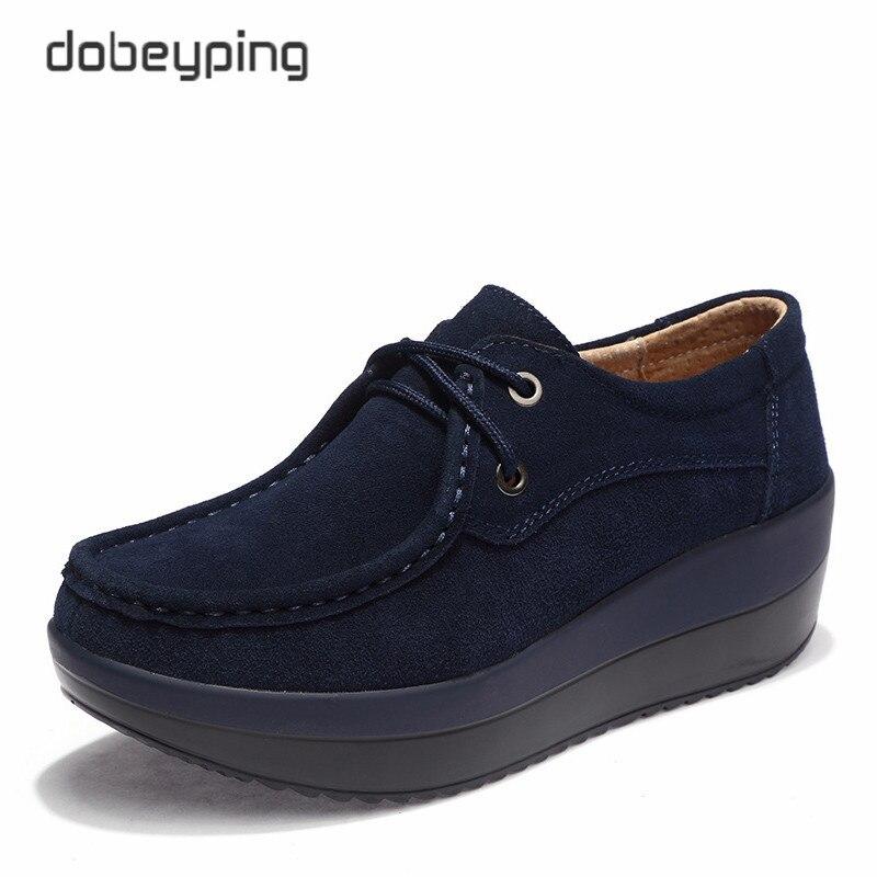 新しい春の秋の靴女性の牛スエードレザーフラットプラットフォーム女性の靴レースアップ女性のローファー厚い底女性スニーカーwomen loafersplatform women shoesleather flat -