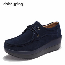 New Spring Autumn Shoes Woman Cow Suede Leather Flat Platform Women Shoes Lace-Up Women's Loafers Thick Soled Female Sneakers недорого