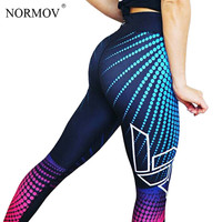 NORMOV Fashion Autumn Push Up Leggings Women Pants High Waist Fitness Legging 3D Print Workout Breathable