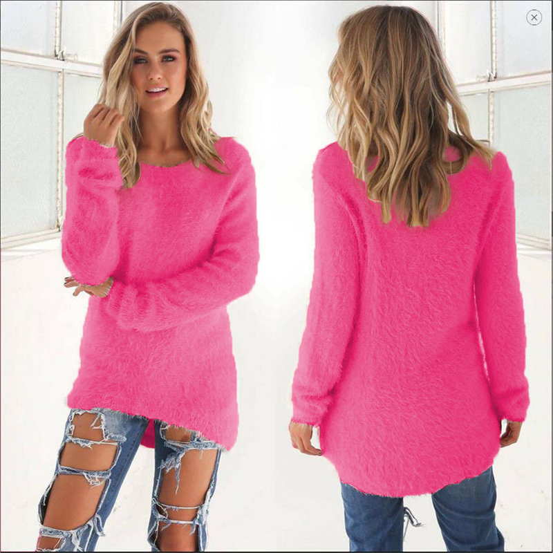 Autumn Winter Women Warm O Neck Sweater Female Long Sleeve Casual Knitted Sweater Tops Solid Color Loose Pullover Oversize