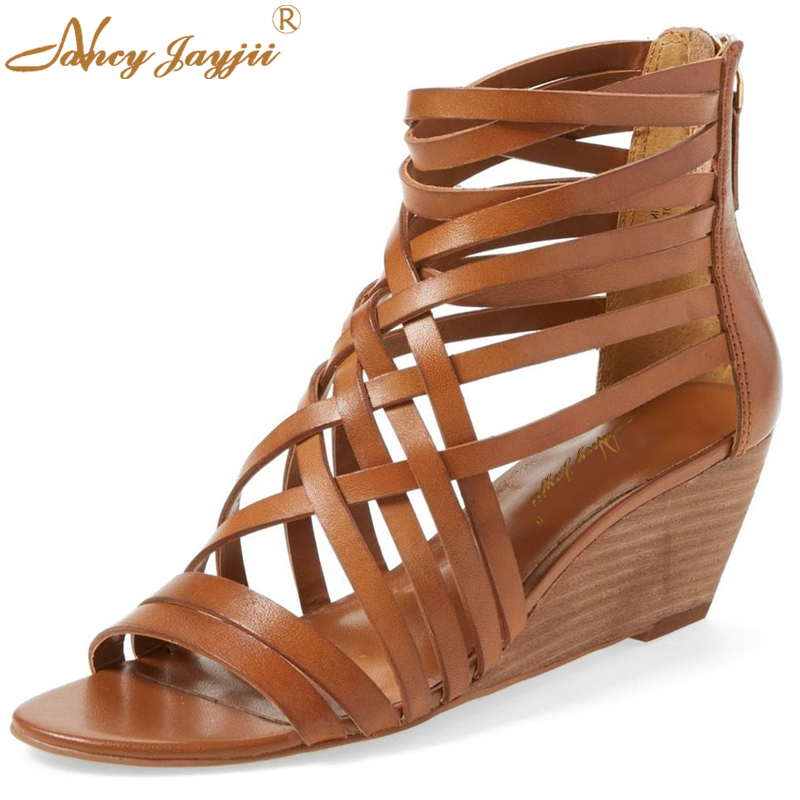цена  Summer Women Sexy Low Heels Wedges Brown Sandals Leather Casual&Party Shoes Zapatos Mujer Tacon Sapato Large Size 16 Nancyjayjii  онлайн в 2017 году