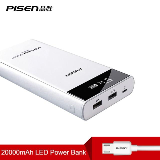 PISEN 18650 ЖК-Дисплей Power Bank 20000 мАч Внешний Портативный Аккумулятор Мобильное Зарядное Устройство Dual USB Powerbank для huawei xiaomi
