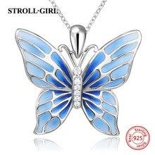 Strollgirl فضة 925 لطيف عقد بحلية متدلية على شكل فراشة القلائد مع الأزرق المينا موضة مجوهرات فضة شحن مجاني
