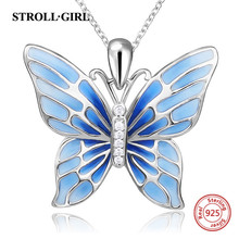 Strollgirl Sterling Silver 925 Cute Butterfly Pendant Necklaces with Blue Enamel Fashion Silver Jewelry Free Shipping