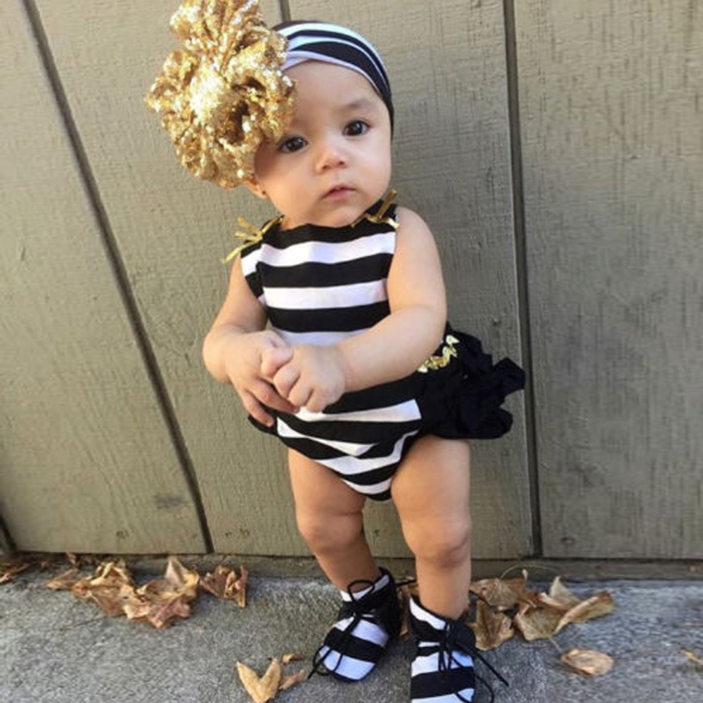0-24M Newborn Baby Girls Clothes Toddle Kids Striped Bodysuit Summer One Pieces Jumpsuit +Hairband Baby Girls Clothing Outfits