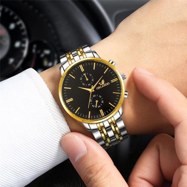 ORLANDO Fashion Quartz Men's Silver Gold Plated Stainless Steel Wristwatch  4