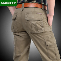 NIAN JEEP Men's big pocket overalls 2017 Spring casual brand straight pants 100% cotton military pant autumn man army trousers