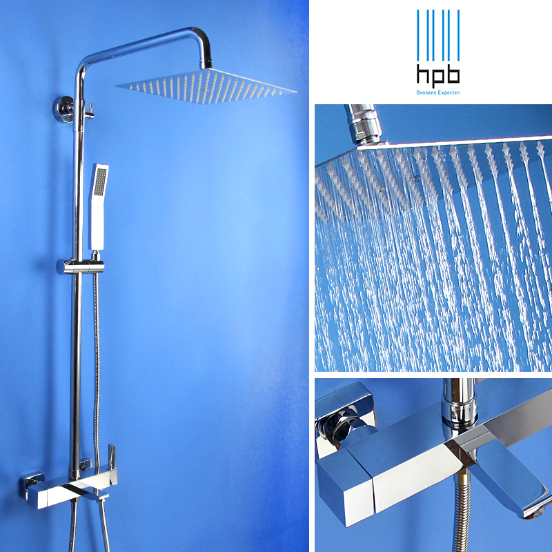 Square shower set full copper faucet shower water mixing valve air injection technique