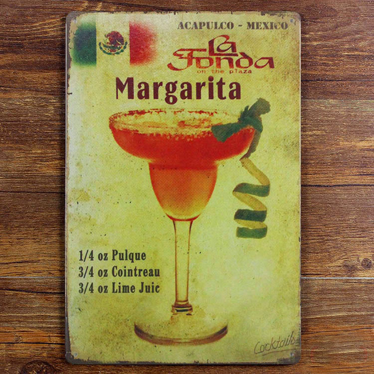 Retro crafts Iron Wall art Metal painting Margarita wine Bar decor ...