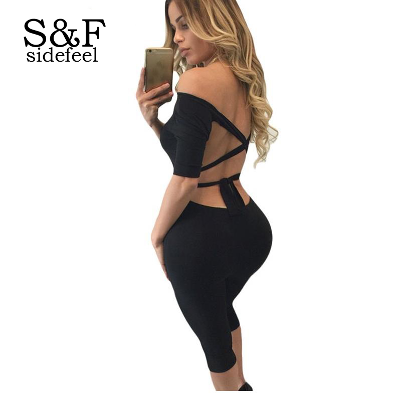 13f9f9aaef Fashion Fitness Jumpsuit Black Burgundy Blue Off Shoulder Tie Back Cropped Womens  Romper Spandex Bodysuit Dear lovers LC64024-in Jumpsuits from Women s ...