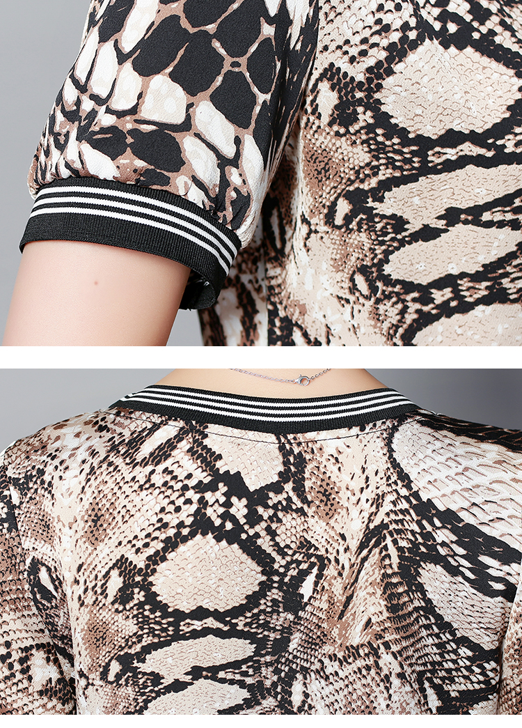 Plus Size Summer Snake Printed Two Piece Sets Women Short Sleeve Tops And Wide Leg Pants Suits Casual Elegant Korean Womens Set 55