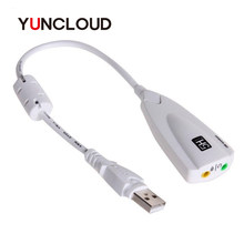 YUNCLOUD External Sound Card USB 2.0 to Jack 3.5mm 3D Audio Headset Microphone 7.1 Channel 5HV2 Adapter For Laptop Professional(China)