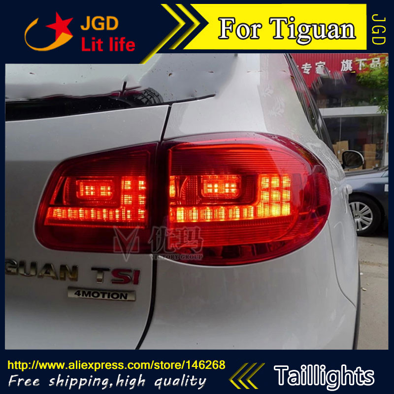 Car Styling tail lights for VW Tiguan 2009-2013 LED Tail Lamp rear trunk lamp cover drl+signal+brake+reverse for vw volkswagen polo mk5 6r hatchback 2010 2015 car rear lights covers led drl turn signals brake reverse tail decoration