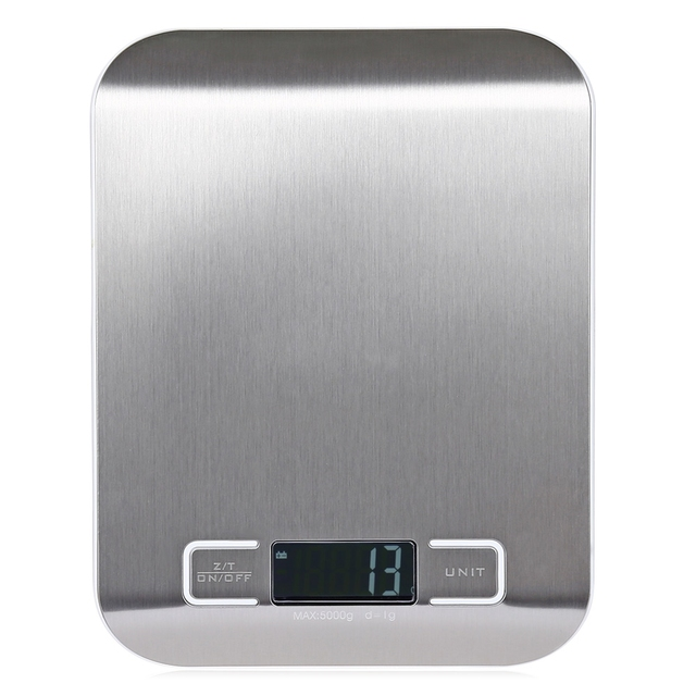 Lcd Digital Kitchen Scale Fingerprint Proof Stainless Steel Platform 5000g 1g Weighing Device With