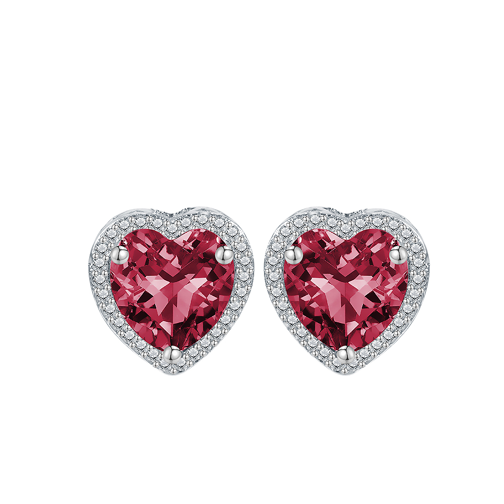 Silver Rose Red Heart Earrings For Women Double Sided Silver Earring  Fashion Cubic Zirconia Stud Earings