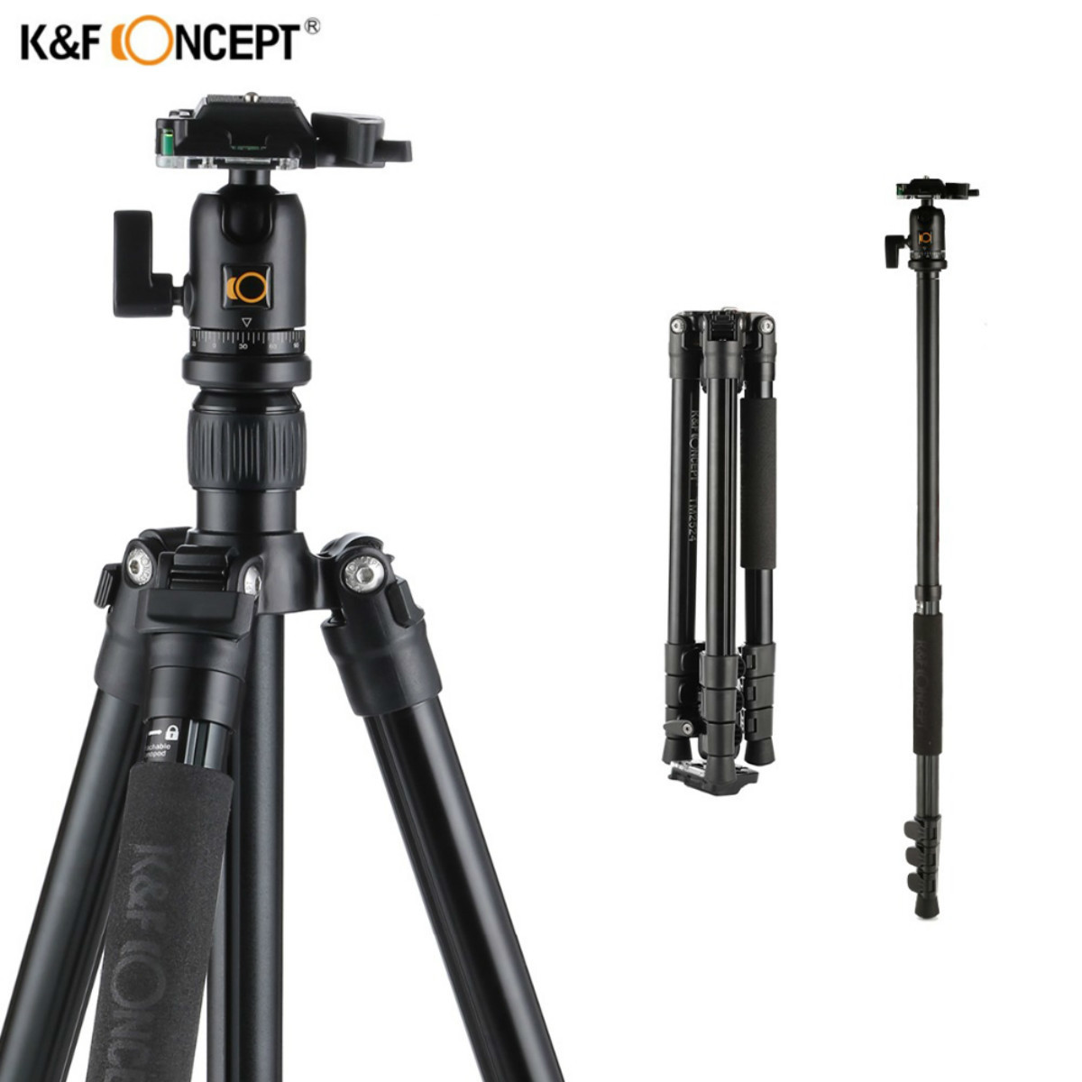 K&F CONCEPT Newest TM2524 Professional Aluminum Travel Photo Video Tripod Portable Monopod Stand For DSLR Camera With Ball Head ashanks a666 aluminum camera tripod with professional video ball head portable for photographic dslr camera 8kg 142cm 55 9