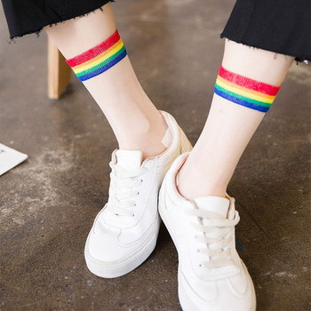 Fashion Transparent Rainbow Breathable Socks Women New Japan Harajuku Striped Crystal Sexy Women Socks Street Skateboard Socks