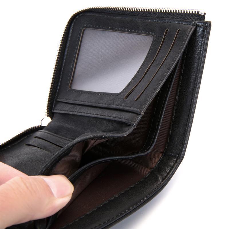 Business Men Wallet RFID Blocking Protection Anti-Theft Scan Men Short Wallet Zipper Coin Case Pouch Casual Leather Money Purse 2