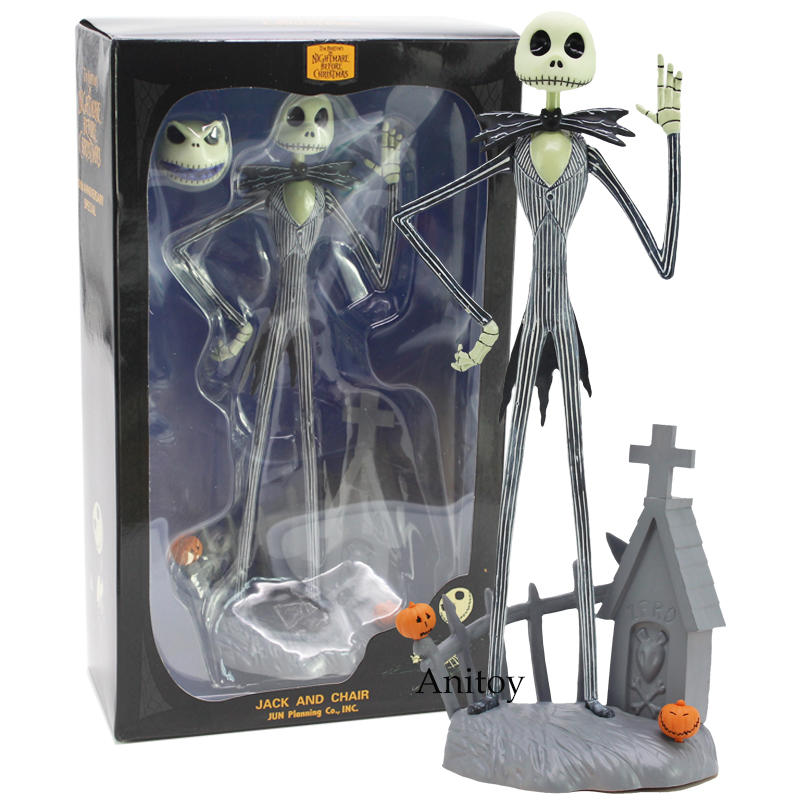 цена на The Nightmare Before Christmas Jack Skellington JACK AND CHAIR PVC Action Figure Collectible Model Toy Gift 30cm