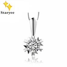 Fashion Forever One Moissanite Stone Pendant Pure 18K Solid White Gold Wedding Jewelry For Women Certified 0.3Carat