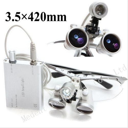 3.5X420mm Dental magnifier Silver Binocular dental Loupe Optical Glass + Portable LED Head Light Lamp CE/FDA 5lens led light lamp loop head headband magnifier magnifying glass loupe 1 3 5x y103