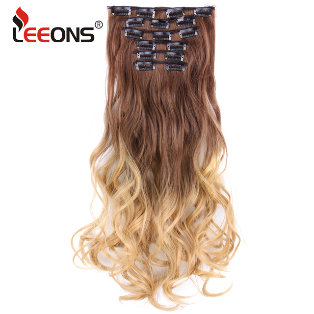 Leeons Long Curly Hair Extension Clip 16 Clips In False Styling Hair