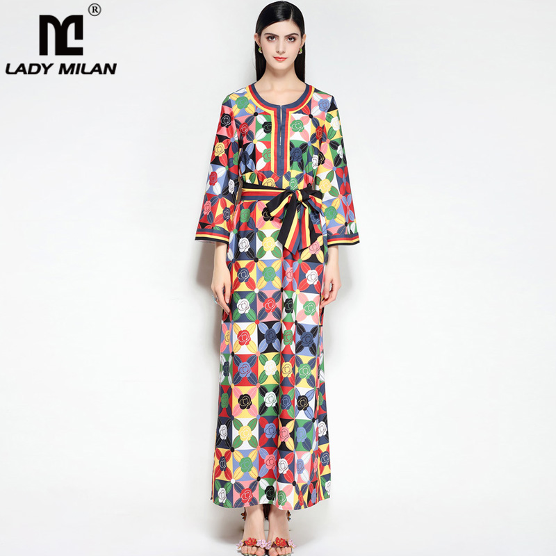2018 Womens O Neck Long Sleeves Loose Design Floral Printed Sash Belt High Street Fashion Long Dresses