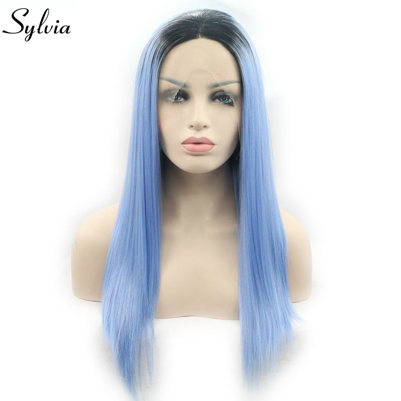 Sylvia Heat Resistant Ombre Blue Wigs Dark Roots Long Silky Straight Synthetic Lace Fron ...