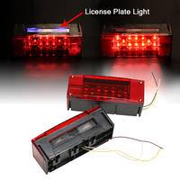 2X Left Right LED Red Trailer Boat Rectangle Stud Stop Turn Tail Lights