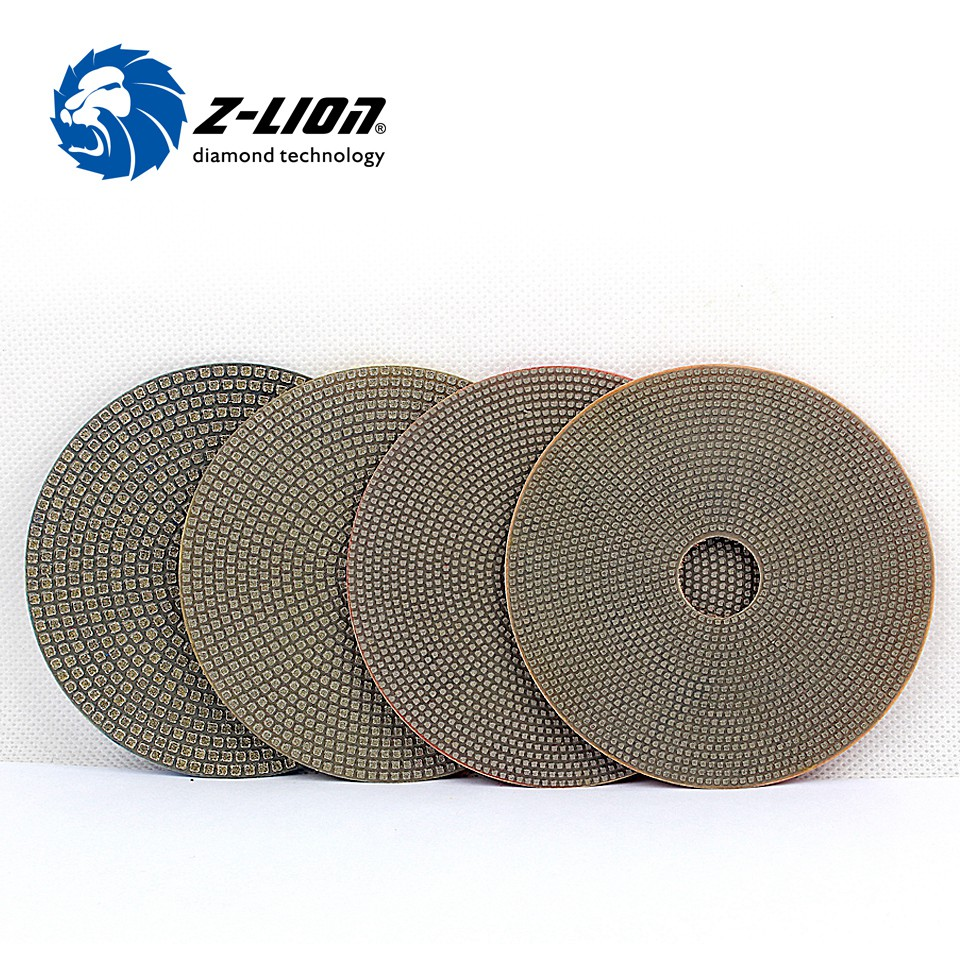 Z-LION 4'' Electroplated Diamond Polishing Pads 100mm Soft Sharp Polishing Discs For Concrete Granite Marble Stone Sanding 4pcs