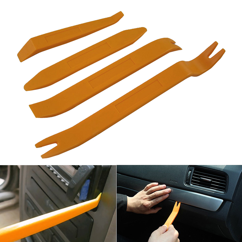 Professional 4Pcs Orange ABS Automobile Audio Door Clip Panel Trim Dash Auto Radio Removal Pry Tools Set Car Panel Removal Tool 12pcs set portable auto car radio panel door clip panel trim dash audio removal installer pry kit repair pry hand tools