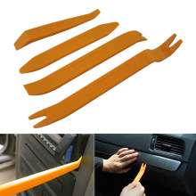 Professional 4Pcs Orange ABS Automobile Audio Door Clip Panel Trim Dash Auto Radio Removal Pry Tools Set Car Panel Removal Tool(China)