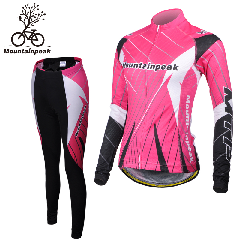 2016 Women Long Sleeve Bike Riding Jerseys Sets Quick Dry Breathable Stretchable 3D Cutting Cycling Clothing Equipment