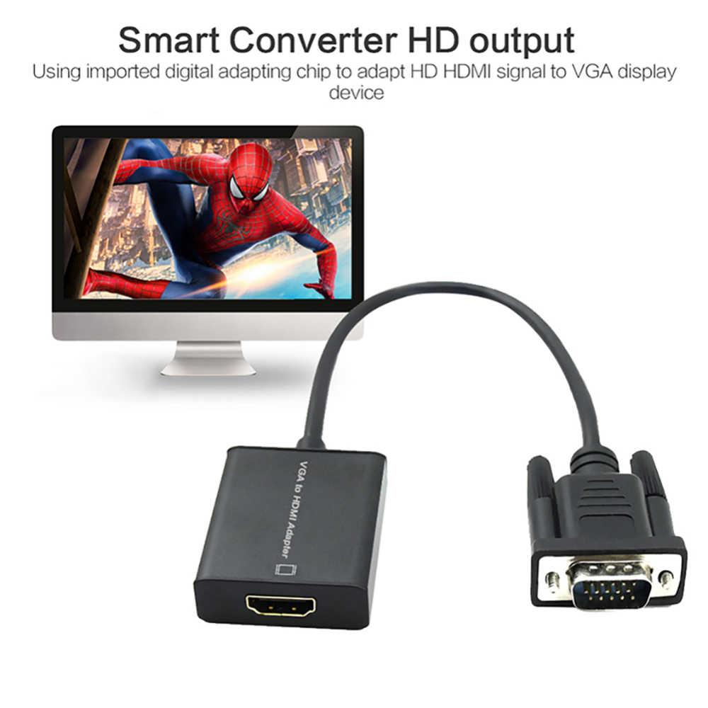 VGA Ke HDMI Adaptor dengan Audio Mendukung 1080P untuk PC Laptop untuk HDTV Proyektor Video Audio Converter Berkualitas Tinggi