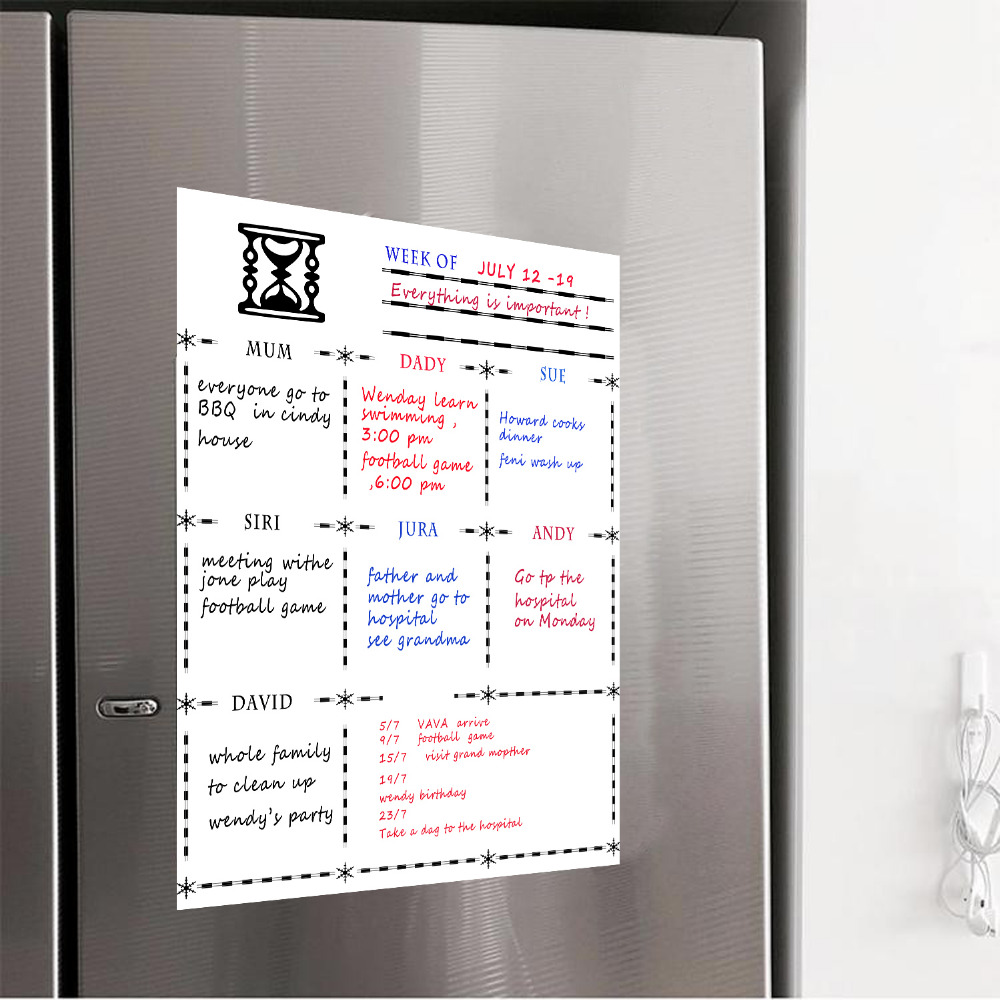 Whiteboard A3 Size Magnetic Refrigerator Dry Erase Whiteboard Flexible Magnet Board - Fridge Board Weekly Planner