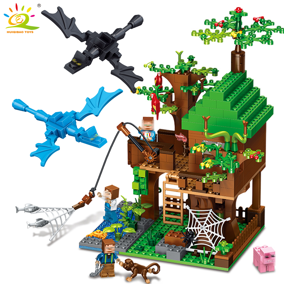 HUIQIBAO TOYS MY World DIY tree house Building Blocks Figures sword Bricks set For children Compatible Legoed Minecrafted City 523pcs 4 in 1 minecrafted classic tree house my world model figures building blocks bricks legoings toys for children gifts set
