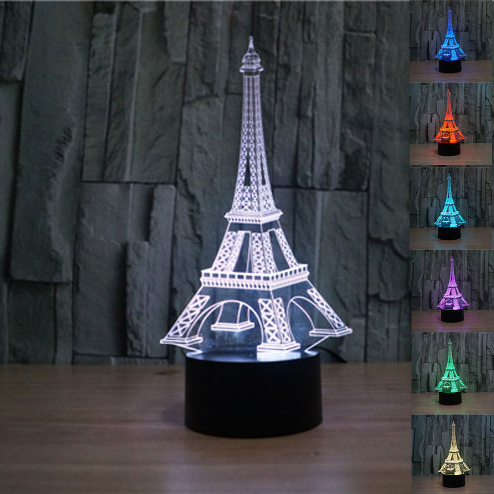 buy Creative Eiffel Tower 3D Bedside Table Lamp 7 Color Change Kids Led Night Light Touch Lava Lamp Led Desk Light Lamp pic,image LED lamps deals