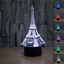cheap Creative Eiffel Tower 3D Bedside Table Lamp 7 Color Change Kids Led Night Light Touch Lava Lamp Led Desk Light Lamp,image LED lamps offers