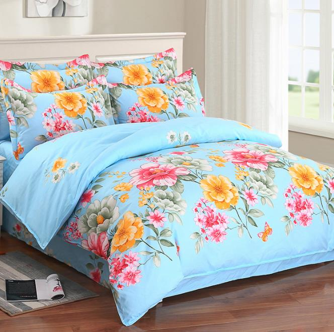 Ensemble de literie classique 4 tailles gris bleu fleur linge de lit 3/4 pièces/ensemble housse de couette ensemble pastorale drap de lit AB côté housse de couette 2018 lit