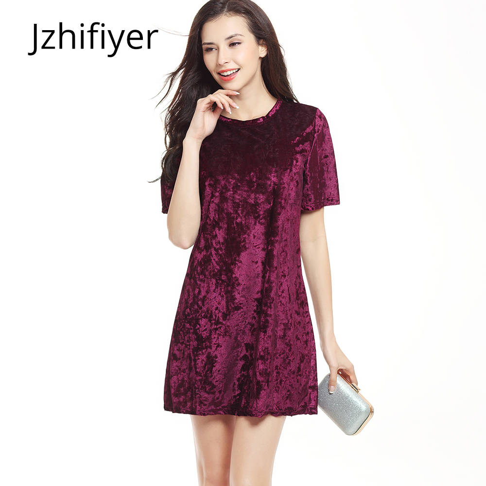 women plain casual dress mujer vestido loose velvet fashion short sleeve solid A line s-2xl summer soft