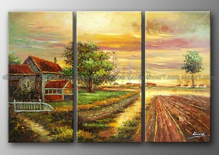 100% Hand Painted Twilight Countryside Put His Ideas Soil Red House Free  Shipping L Decoration Art Oil Paintings On Canvas In Painting U0026 Calligraphy  From ...