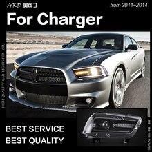 AKD автомобильный Стайлинг для Dodge зарядное устройство фары 2011-2014 зарядное устройство светодиодный фонарь динамические светодиодные фары дневного света Биксеноновые автомобильные аксессуары