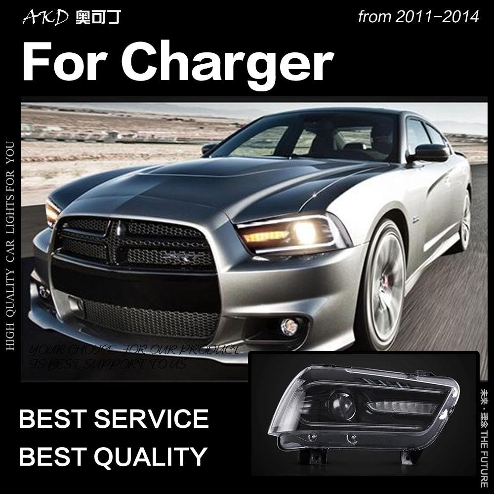 Faróis de AKD Styling de Carro para Dodge Charger 2011-2014 Carregador LEVOU Sinal Dinâmico Led Drl Farol Bi Xenon Auto acessórios