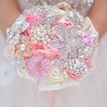 Mini ramo de novia, rosa + coral, 5 pulgadas broche ramo, damas de honor ramos de flores, vintage