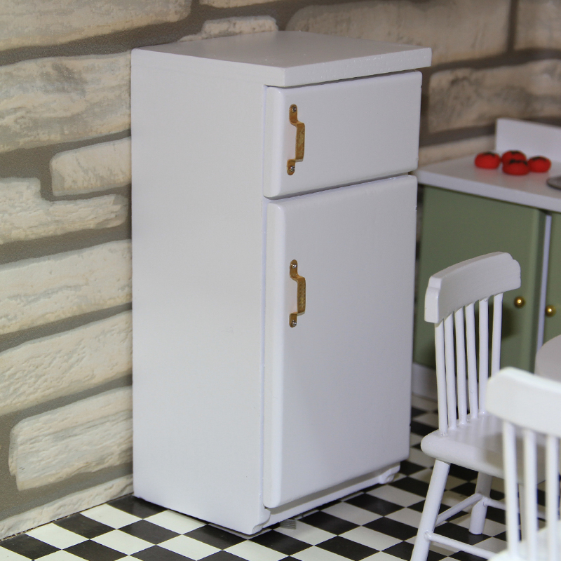 1//12 Dollhouse Miniature Wooden Fridge Model Kitchen Living Room Decor