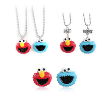 Funny Cartoon Blue Red Big Head Doll Pendant Metal Necklace Unique Smiley Doll Fashion Personality Best Friend Jewelry Gift(China)